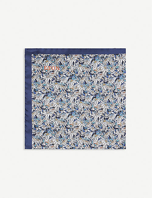 ETON: Floral-print silk pocket square