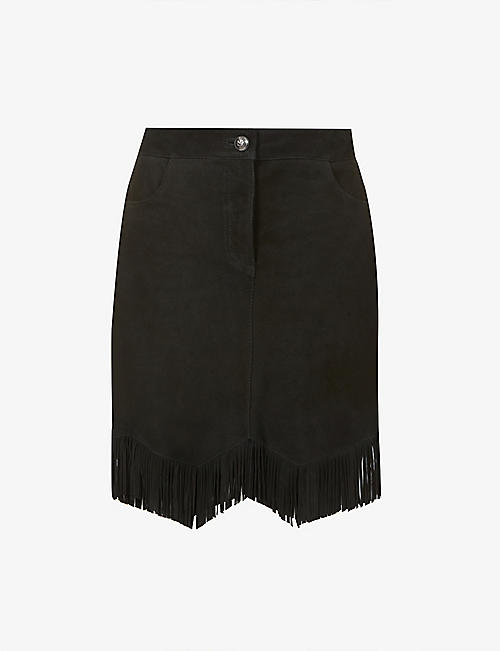 PINKO: Ernesto Gonna fringed leather mini skirt