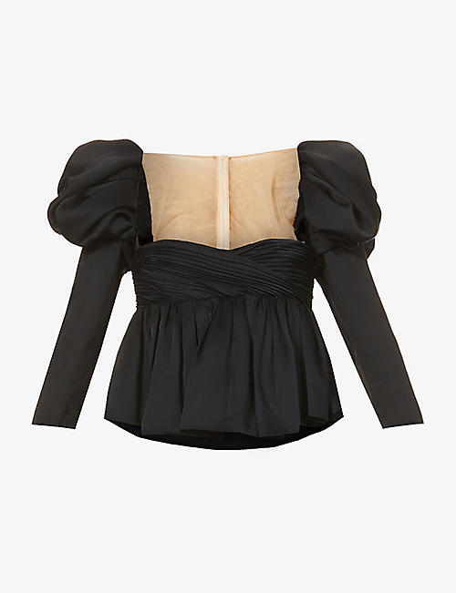 KHAITE: Kim satin-trim satin-crepe top