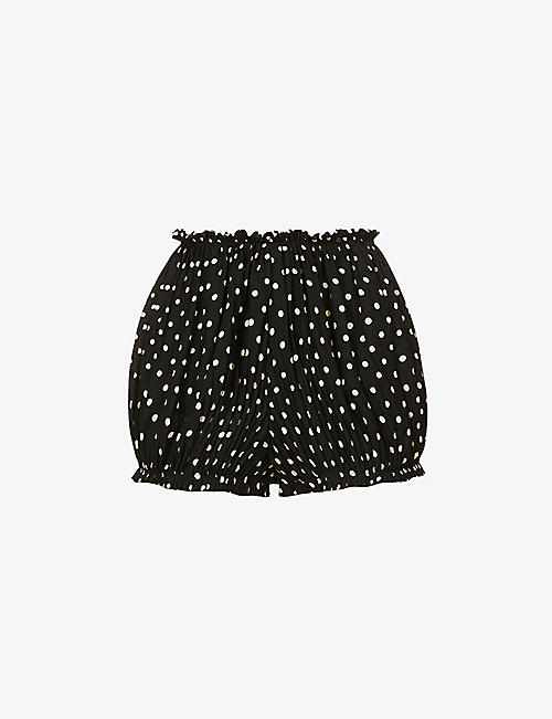 KHAITE: Hilary polka dot-print high-rise silk shorts