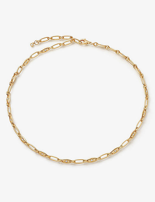 ASTLEY CLARKE: Celestial Orbit 18ct yellow gold-plated vermeil sterling silver and sapphire necklace