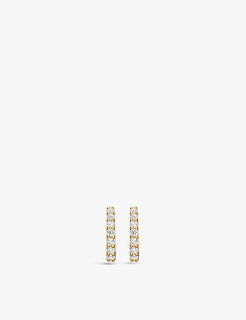 ASTLEY CLARKE: Mini Halo 14ct recycled yellow-gold and 0.18ct diamond hoop earrings