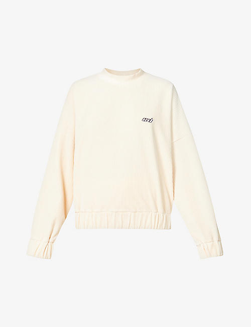 CD FEMME: Logo-embroidered cotton-blend corduroy sweatshirt
