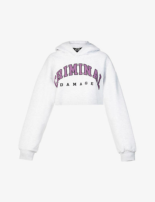 CD FEMME: Logo-print cropped cotton-blend jersey hoody