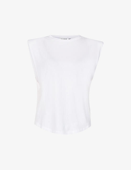 GOOD AMERICAN: Padded shoulder cotton-blend jersey top