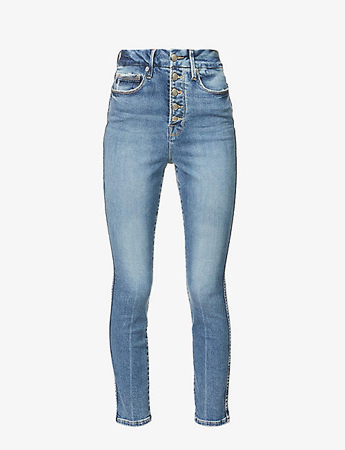 GOOD AMERICAN: Good Curve skinny high-rise cropped cotton-blend stretch-denim jeans