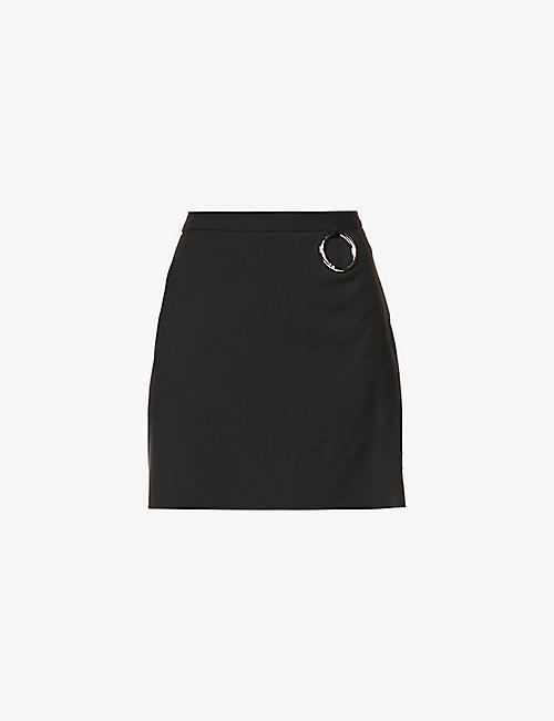 ACT N1: Embellished wool mini skirt