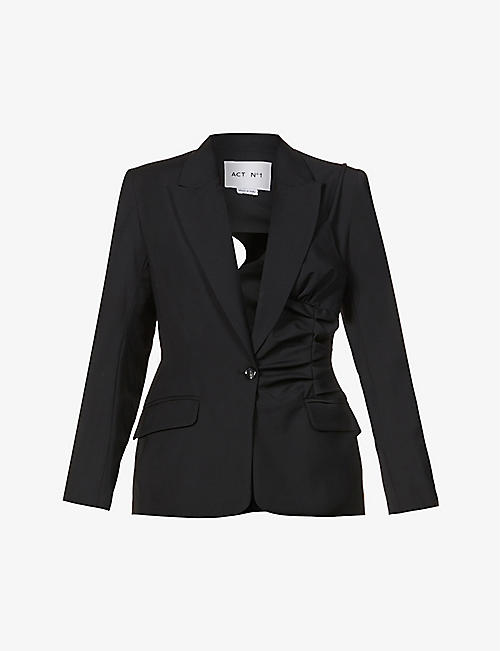 ACT N1: Open-back single-breasted wool blazer