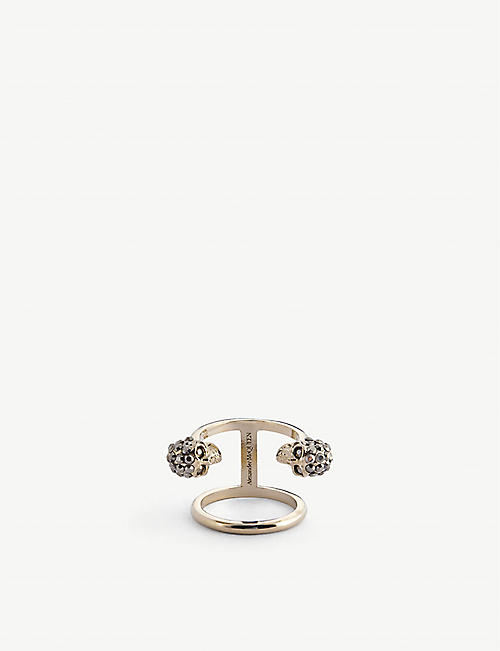 ALEXANDER MCQUEEN: Double-skull jewelled gold-tone ring