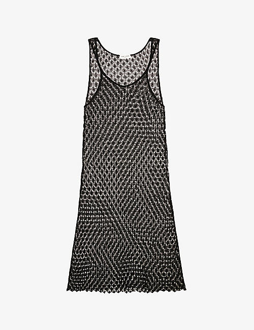 SAINT LAURENT: Semi-sheer crochet linen-blend maxi dress