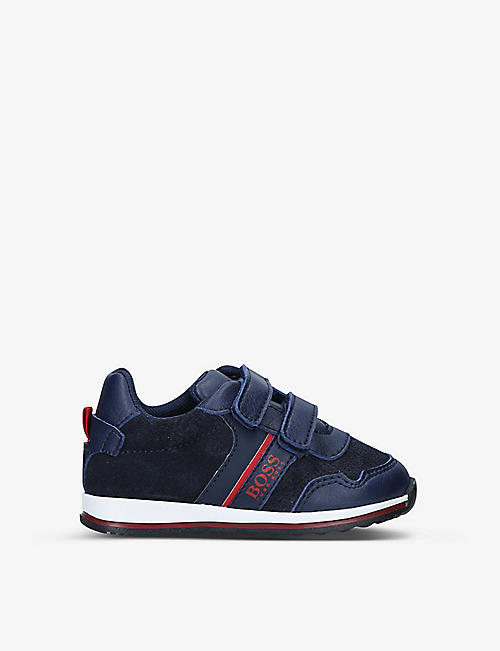 BOSS BY HUGO BOSS: Milo low-top leather and suede trainers 6 months-24 months
