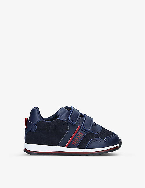 BOSS BY HUGO BOSS: Milo low-top leather and suede trainers 2-6 years
