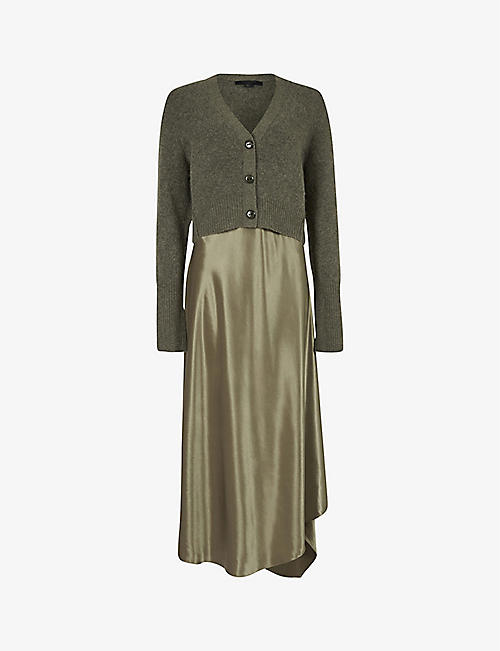 ALLSAINTS: Orri cardigan-overlay midi wool-blend and satin midi dress