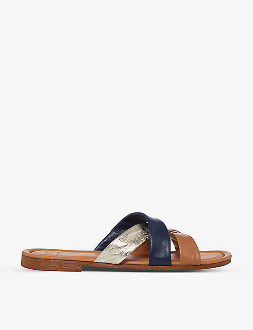 DUNE: Laural crossover-strap leather sandals