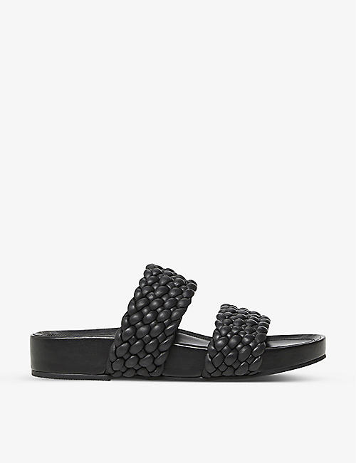 DUNE: Laylow double woven-strap leather sliders