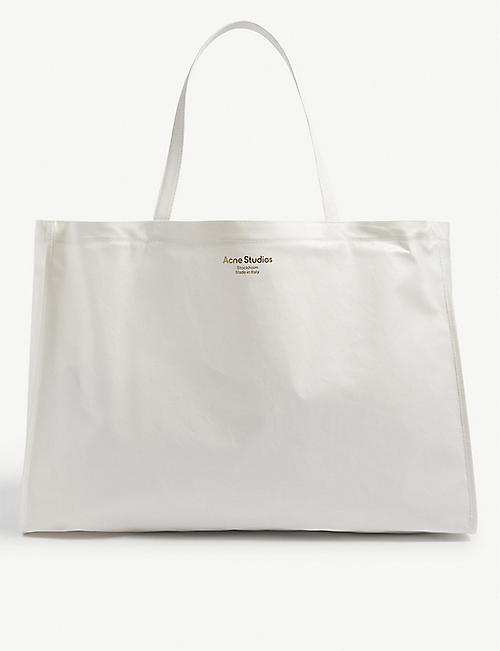 ACNE STUDIOS: Agele logo-print coated canvas tote bag