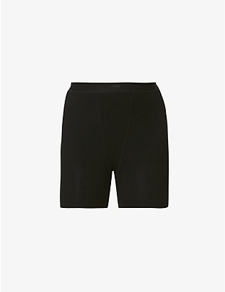 SKIMS: Sleep ribbed high-rise stretch-woven boxers