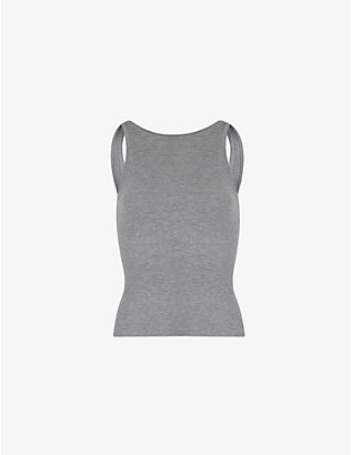 SKIMS: Sleep high-neck ribbed stretch-jersey tank top