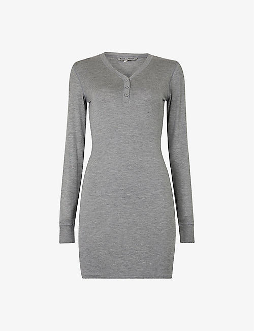 SKIMS: Summer Sleep Henley stretch-jersey mini dress
