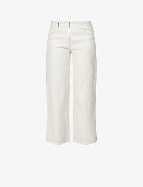 S MAX MARA: Francia straight-leg mid-rise linen and cotton-blend trousers