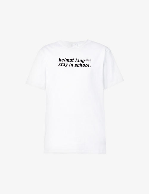 HELMUT LANG: School slogan-print cotton-jersey T-shirt