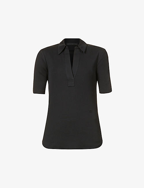 HELMUT LANG: Short-sleeved cotton-jersey polo top