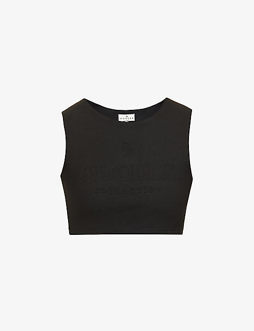 ODOLLS COLLECTION: Logo-embossed stretch-cotton crop top