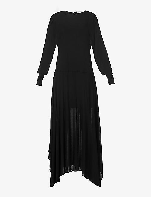 SPORTMAX: Haway asymmetric stretch-knit maxi dress