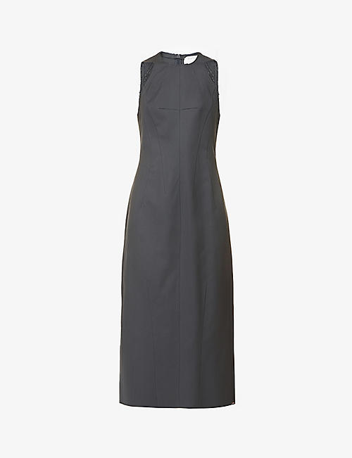 SPORTMAX: Baden sleeveless cotton-blend midi dress