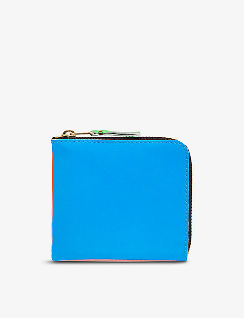 COMME DES GARCONS: Colour-blocked brand-print leather wallet