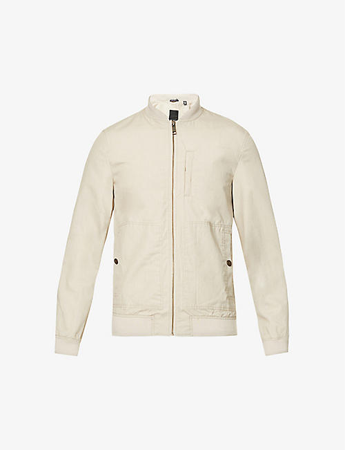 TED BAKER: Bars relaxed-fit woven bomber jacket