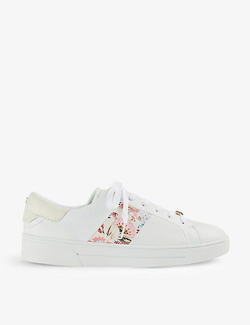 TED BAKER: Hudep floral-print leather and fabric trainers