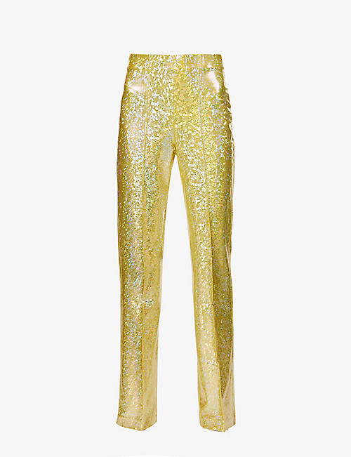 SAKS POTTS: Lissi straight-leg mid-rise stretch-woven trousers