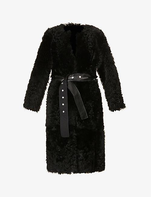SAKS POTTS: Katie belted leather and shearling coat