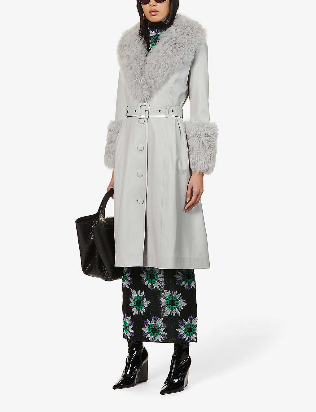 SAKS POTTS Foxy V-neck shearling-trimmed leather coat in Gray