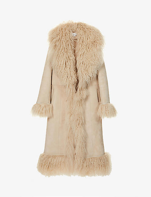 SAKS POTTS: Bonnie shawl-collar suede and shearling coat