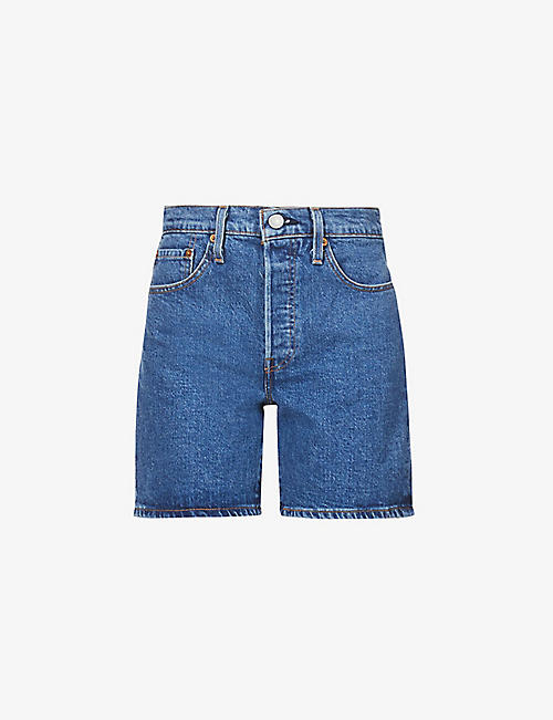 LEVIS: 501 mid-rise faded stretch-denim shorts