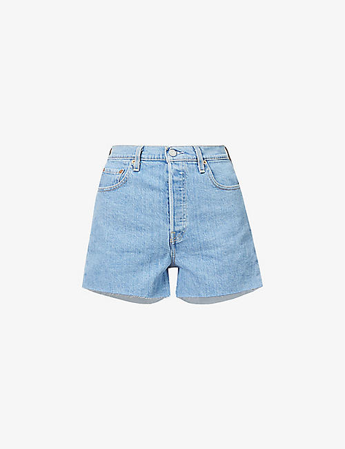 LEVIS: Ribcage high-rise denim shorts