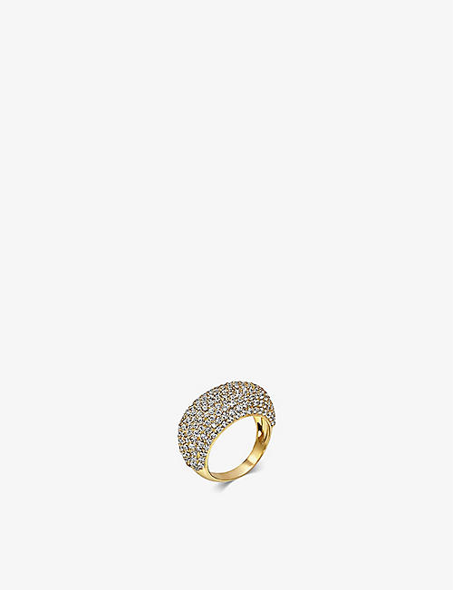 DAPHINE: Christy 18ct yellow gold-plated and pavé cubic zirconia ring