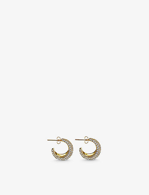 DAPHINE: Christy 18ct yellow gold-plated brass and pave hoop earrings