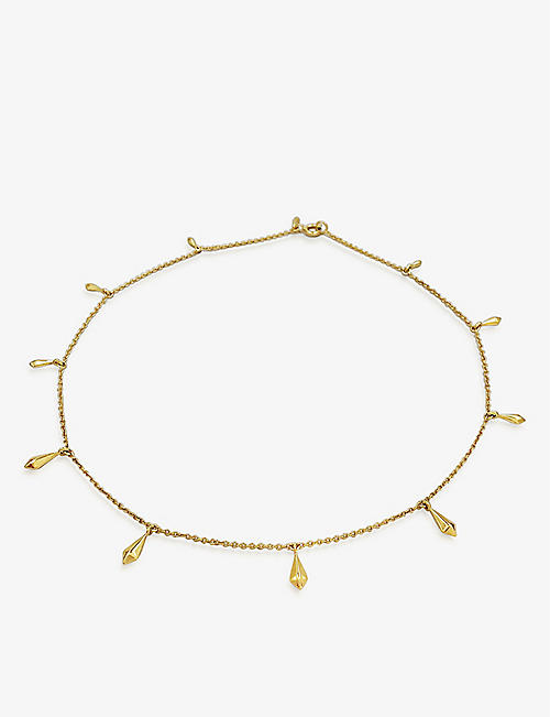 DAPHINE: Pampille 18ct yellow gold-plated brass metal choker