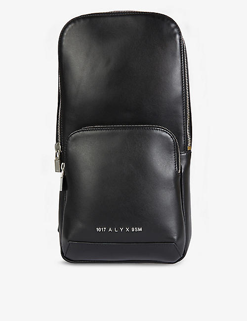 1017 ALYX 9SM: Branded-buckle leather cross-body sling bag