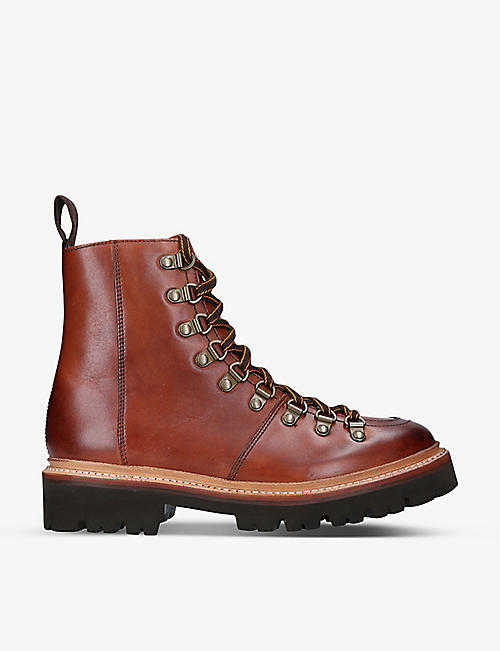 GRENSON: Nanette lace-up leather hiking boots