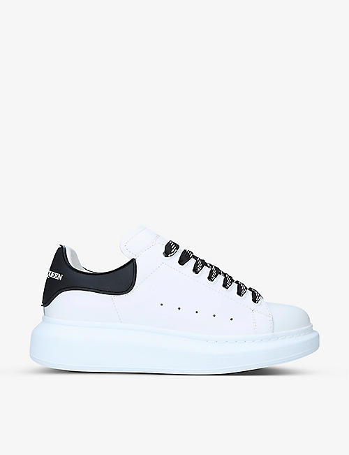 ALEXANDER MCQUEEN: Runway mid-top leather and suede trainers