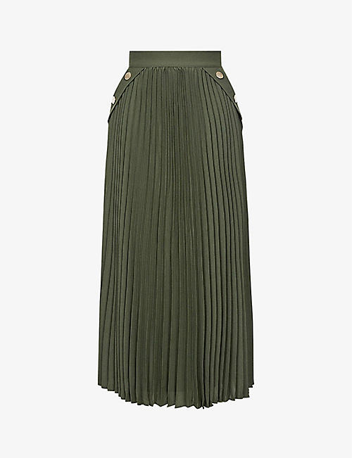REISS: Lina pleated woven midi skirt