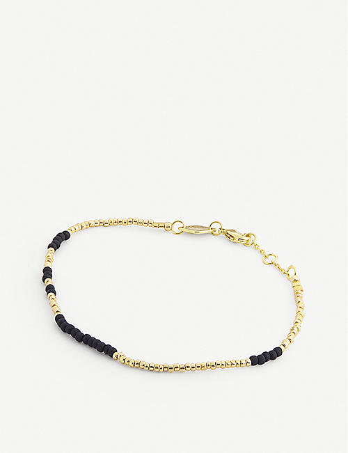 ANNI LU: Asym 18ct gold-plated and glass bead bracelet