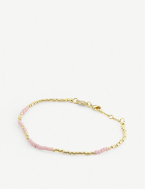 ANNI LU: Asym 14ct gold-plated and glass bead bracelet