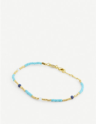 ANNI LU: Clemence 18ct gold-plated and glass bead bracelet