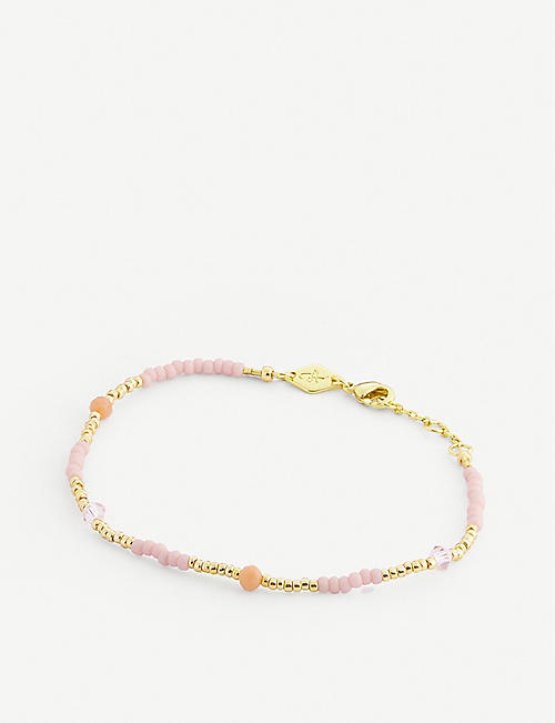 ANNI LU: Clemence 18ct gold-plated, glass and jade bead bracelet