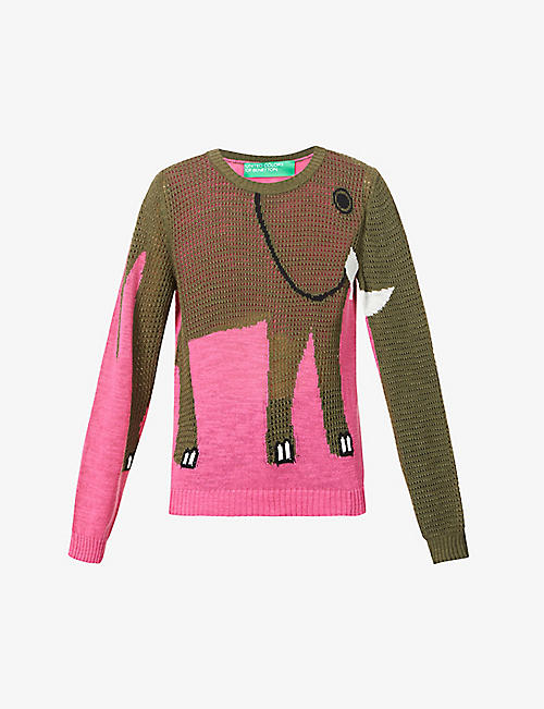 BENETTON: Elephant intarsia knit jumper